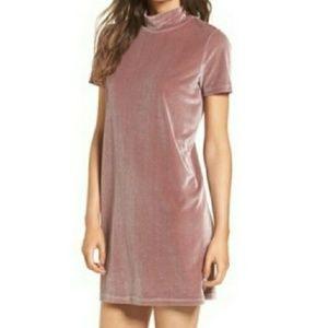 Madewell Dusty Pink Purple Velvet Mock Neck Dress